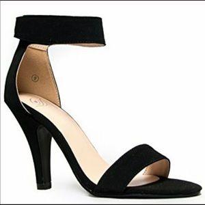Open toe faux suede heel